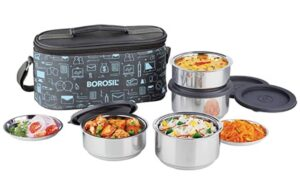 Borosil Carry Fresh Stainless Steel Insulated Lunch Box