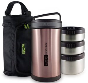 Home Puff Stainless Steel Double Wall Vacuum Insulated Leak-proof Lunch Box